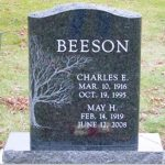 single-green-granite-headstone-tree